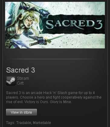 Sacred 3 - STEAM Gift - Region Free / ROW / GLOBAL