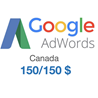 Промокод купон Google AdWords Адвордс 150/150CAD Канада