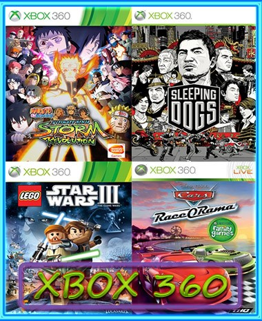 SLEEPING DOGS,NARUTO, LEGO STAR WARS 3,CARS(XBOX 360)