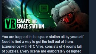 VR Escape the space station ( Steam Key / Region Free )