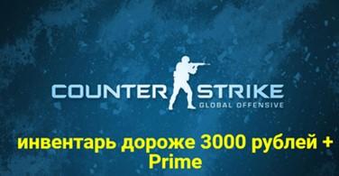 Купить аккаунт CS:GO + инвентарь дороже 3000 рублей + Prime на SteamNinja.ru