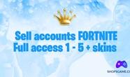 Купить аккаунт Fortnite 1 - 5 + скинов + Полный доступ + Почта на Origin-Sell.com