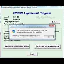 Adjustment program Epson Home XP-100, XP-102, XP-103
