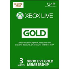 Xbox Live 3 Month Gold Membership $24.99 + DISCOUNTS