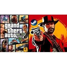 🍔 STEAM GTA 5 V + Red Dead Redemption 2 (STEAM)