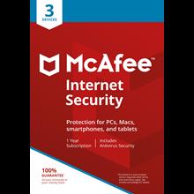 McAfee Internet Security 3 device 1 year RU / EN