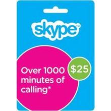 SKYPE VOUCHER 25$ (activation http://www.skype.com)